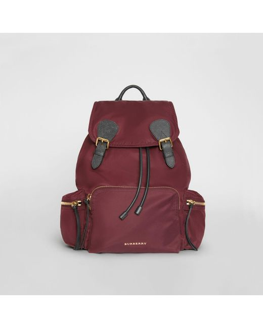 62a58e769116 Burberry - Purple The Large Rucksack In Technical Nylon And Leather  Burgundy Red - Lyst ...