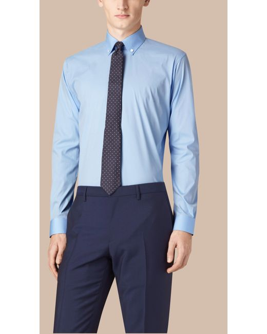 Burberry | Slim Fit Stretch Cotton Shirt City Blue for Men | Lyst