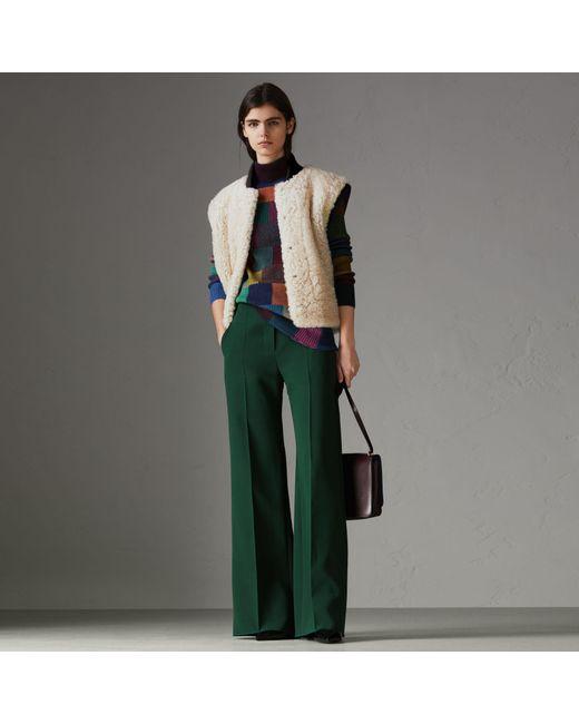Burberry - Multicolor Two-tone Rib Knit Trim Shearling Gilet - Lyst