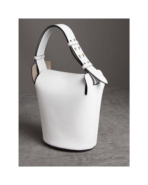 6824e4a7d83b ... Burberry - White The Small Leather Bucket Bag - Lyst ...