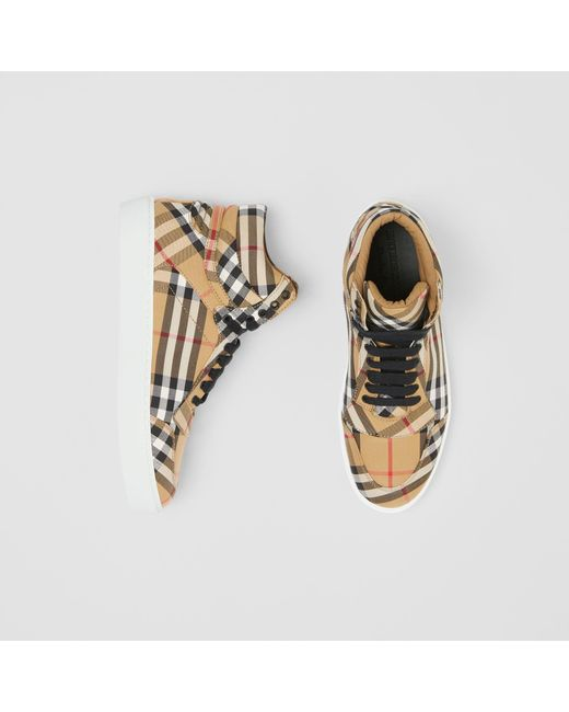 Burberry - Multicolor Vintage Check Cotton High-top Sneakers - Lyst