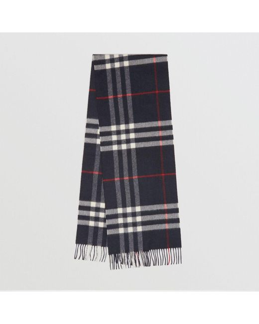 66d66508d80 Burberry - Blue The Classic Cashmere Scarf In Check Navy for Men - Lyst ...