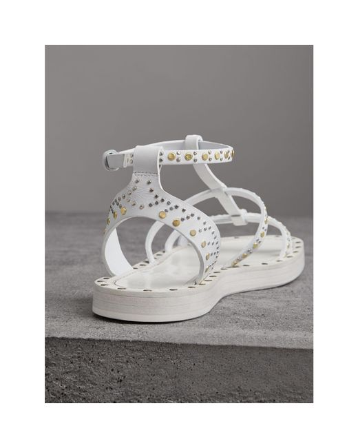 Riveted Leather Gladiator Sandals - White Burberry