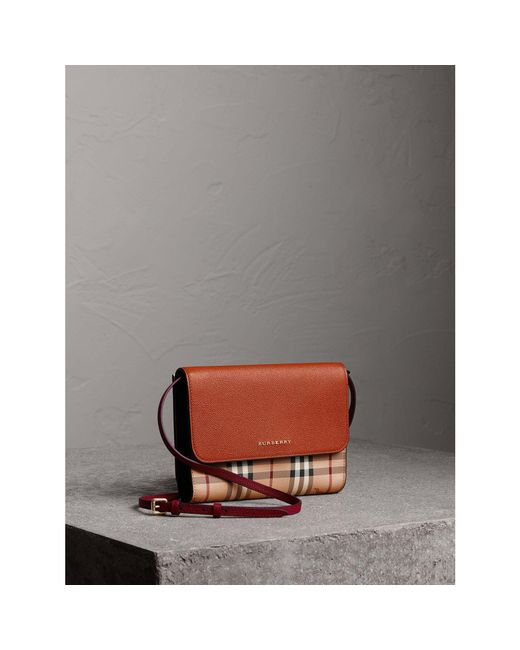 Burberry   Brown Haymarket Check And Leather Crossbody Bag   Lyst