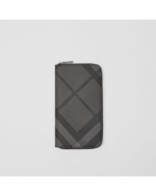 39ca0bf23a9 Burberry - London Check And Leather Continental Wallet In Charcoal black -  Men