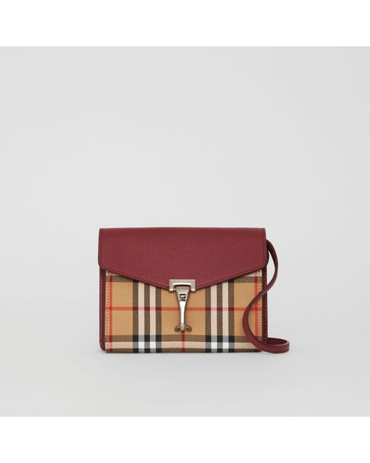 f991161998 Burberry - Red Mini Leather And Vintage Check Crossbody Bag - Lyst ...