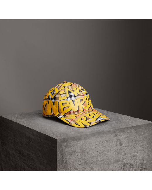 Burberry - Yellow Graffiti Print Vintage Check Baseball Cap for Men - Lyst