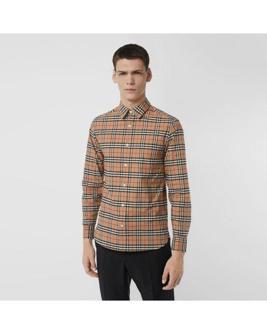 Chemise en coton extensible à motif check Burberry pour homme en coloris Multicolor