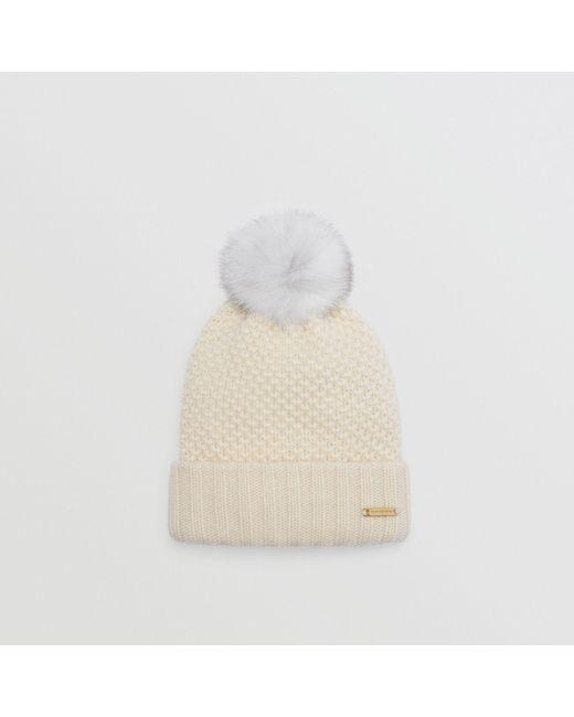 Burberry - White Fur Pom-pom Beanie Ivory - Lyst