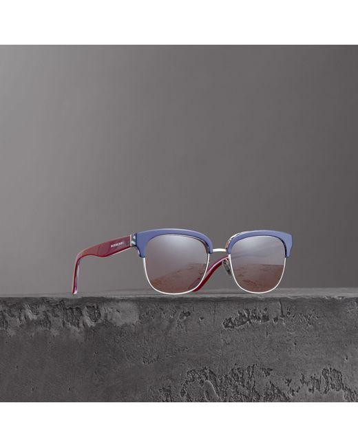 Burberry - Blue Check Detail D-frame Sunglasses for Men - Lyst