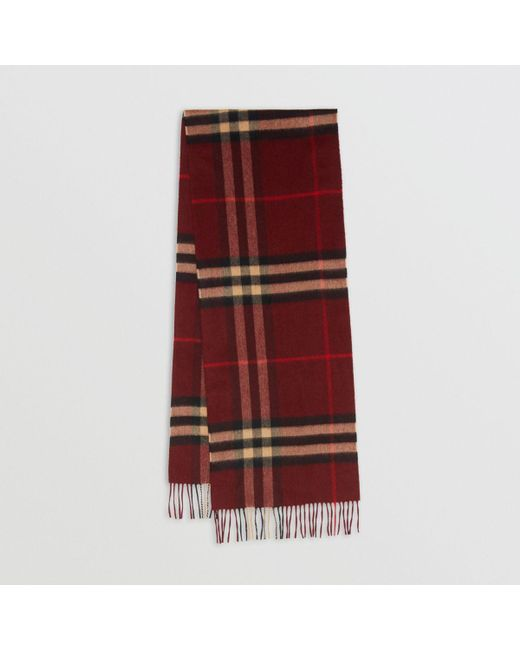 24462d8dc Burberry The Classic Cashmere Scarf In Check Claret in Red for Men ...
