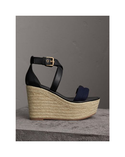 Burberry | Blue Leather And House Check Platform Espadrille Wedge Sandals Navy | Lyst