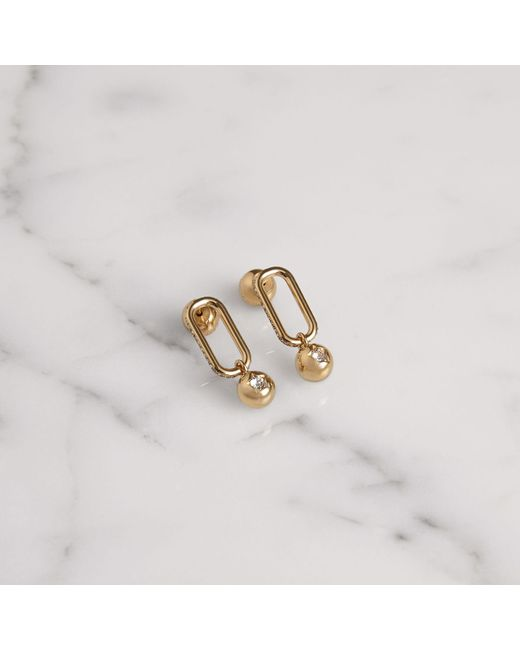 Burberry - Metallic Crystal Charm Gold-plated Drop Earrings - Lyst