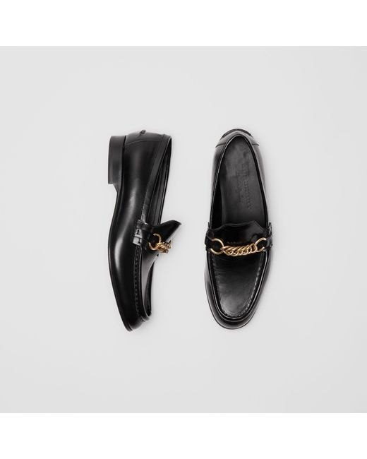 81a48f5c880 Burberry - Black The Leather Link Loafer - Lyst ...