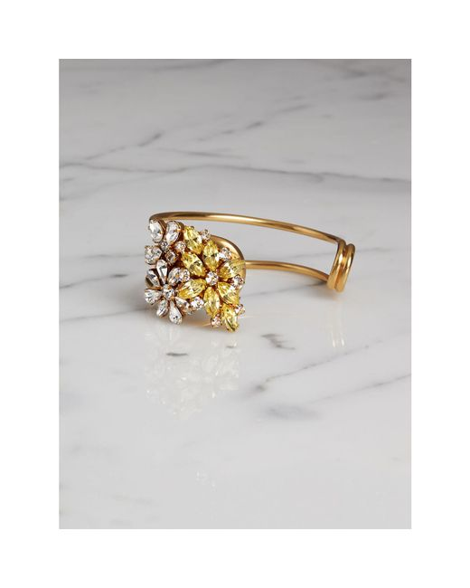 Burberry | Metallic Crystal Daisy Brass Cuff | Lyst