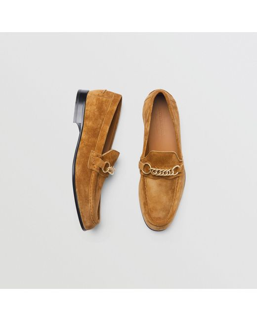 Burberry - Brown The Suede Link Loafer for Men - Lyst