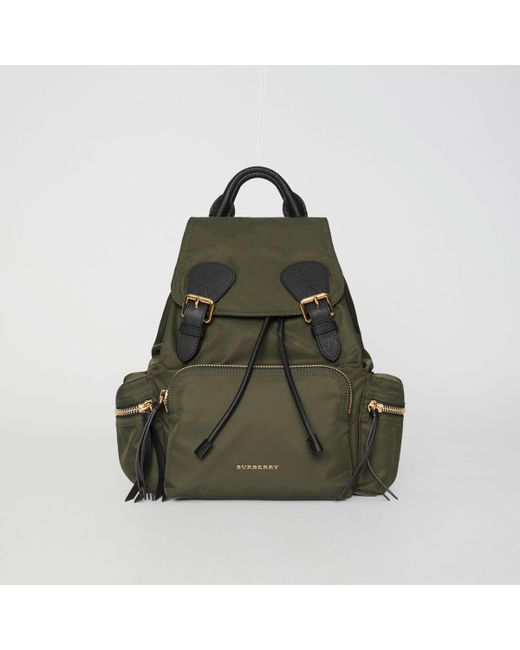 dd95962ba71b3 Burberry - The Medium Rucksack In Technical Nylon And Leather Canvas Green  - Lyst ...