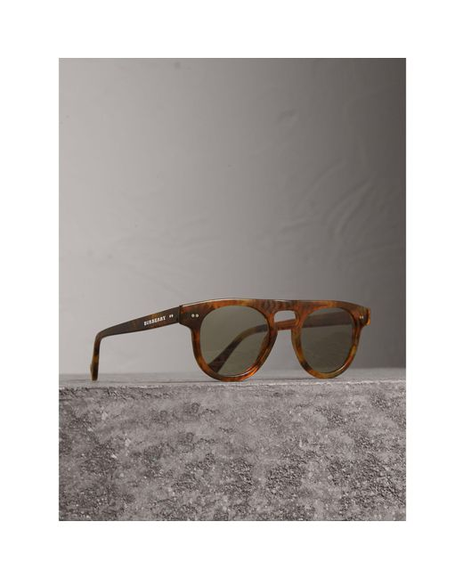 Burberry | Brown The Keyhole Round Frame Sunglasses for Men | Lyst