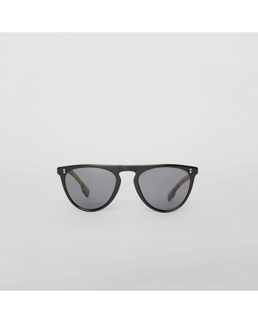 Burberry - Black Vintage Check Detail Keyhole D-shaped Sunglasses for Men -  Lyst ... bf0af80ee07