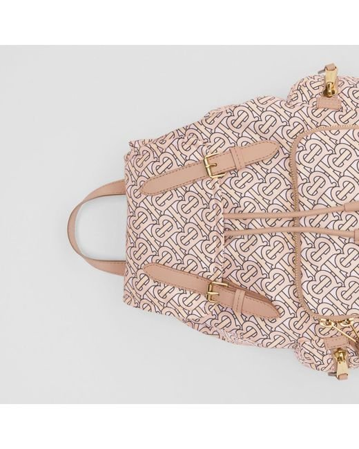 ... Burberry - Pink The Medium Rucksack In Monogram Print Nylon - Lyst ... efcf7773e7fa3