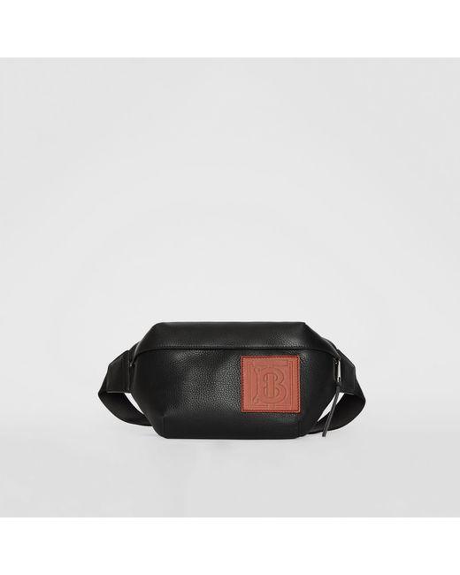 a83aaf6a736a Burberry - Black Medium Monogram Motif Leather Bum Bag for Men - Lyst ...