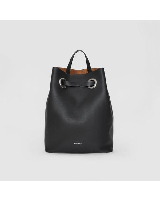 bc22c169c606 Lyst - Burberry The Leather Grommet Detail Backpack in Black - Save 19%