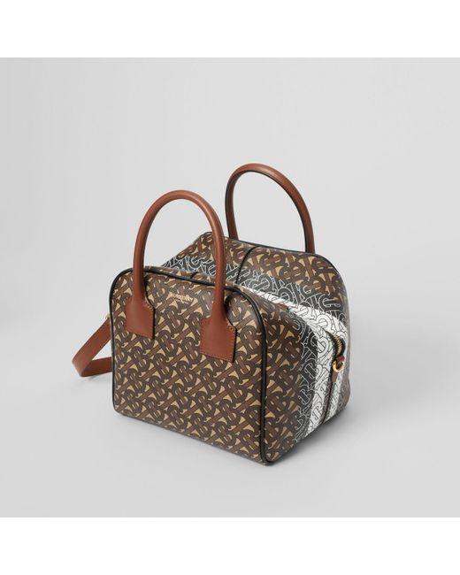 Women S Brown Small Monogram Stripe E Canvas Cube Bag