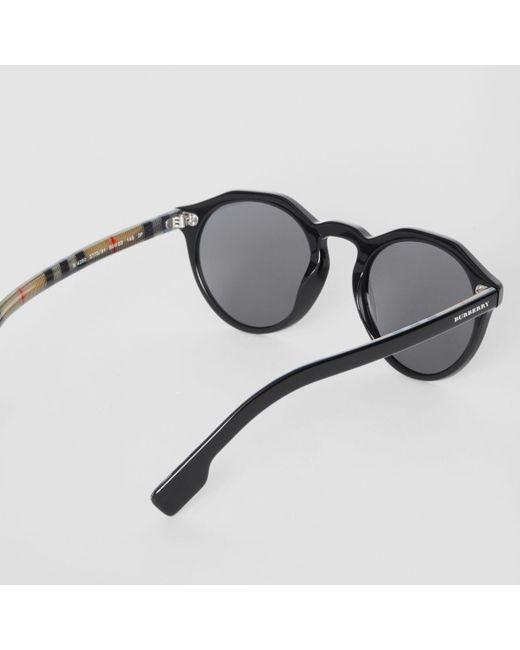 2fcf45096cb ... Burberry - Black Vintage Check Detail Round Frame Sunglasses for Men -  Lyst