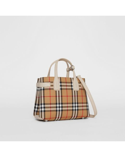 afdc8bf52eaa Burberry - Multicolor Women s Small Banner Check Tote - Limestone - Lyst ...