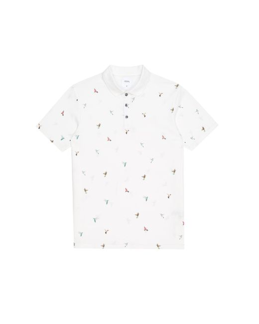 Burton White Hummingbird Print Polo Shirt for men