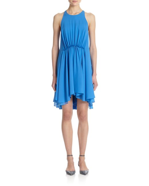 3.1 Phillip Lim | Blue Gathered-waist Silk Dress | Lyst