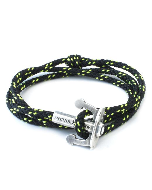 Anchor & Crew | Black Union Silver & Rope Bracelet for Men | Lyst