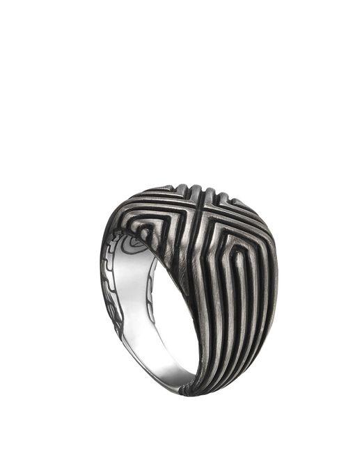 John Hardy   Metallic Bedeg Silver Triangle Line Square Ring   Lyst