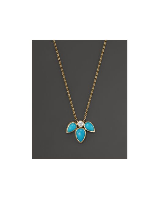 Zoe Chicco | Metallic 14k Yellow Gold Pendant Necklace With Turquoise And Diamond, 16"