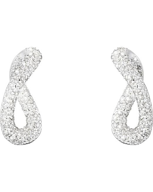 Georg Jensen | Metallic Infinity Sterling Silver And Diamond Earrings | Lyst