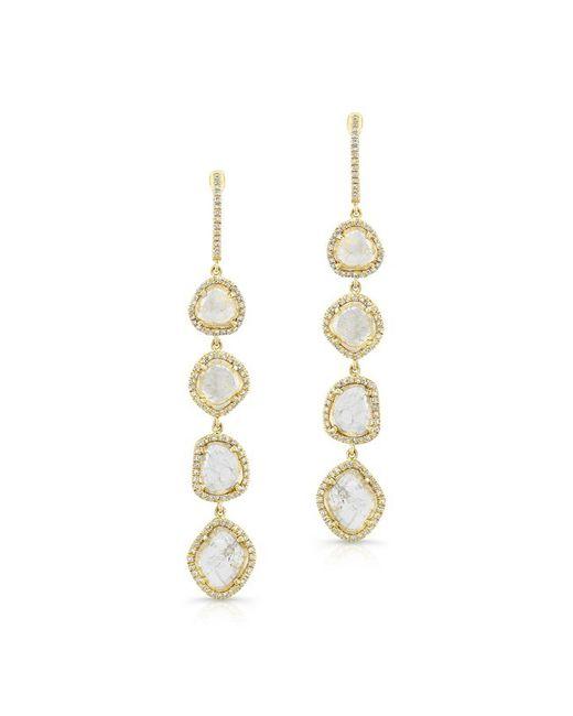 Anne Sisteron - 14kt Yellow Gold 4 Diamond Sliced Drop Earrings - Lyst