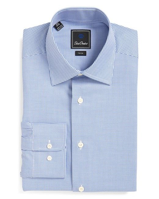 David Donahue Trim Fit Houndstooth Dress Shirt In Blue For