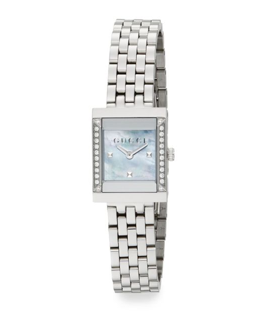 Gucci | Metallic G-frame Diamond, Mother-of-pearl & Stainless Steel Watch for Men | Lyst