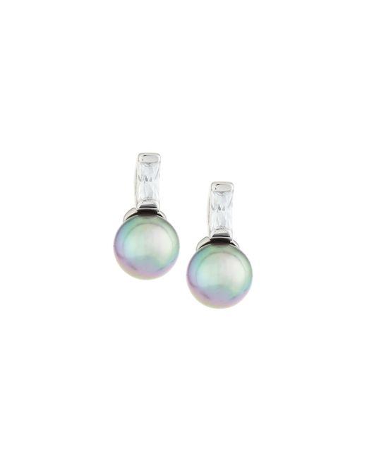 Majorica | Gray Pearl & Crystal Drop Earrings | Lyst