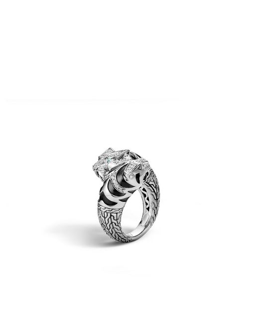 John Hardy | Blue Legends Macan Double Head Bypass Ring, Silver With Diamonds | Lyst