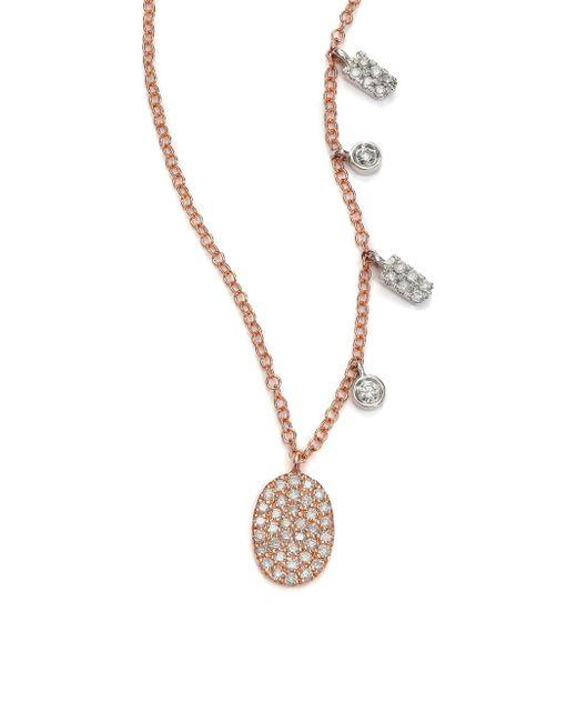 Meira T | Pink Diamond & 14k Rose Gold Oval Pendant Necklace | Lyst