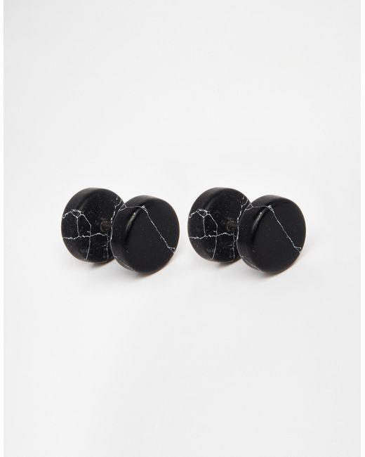 ASOS | Stone Look Plug Earrings In Black for Men | Lyst