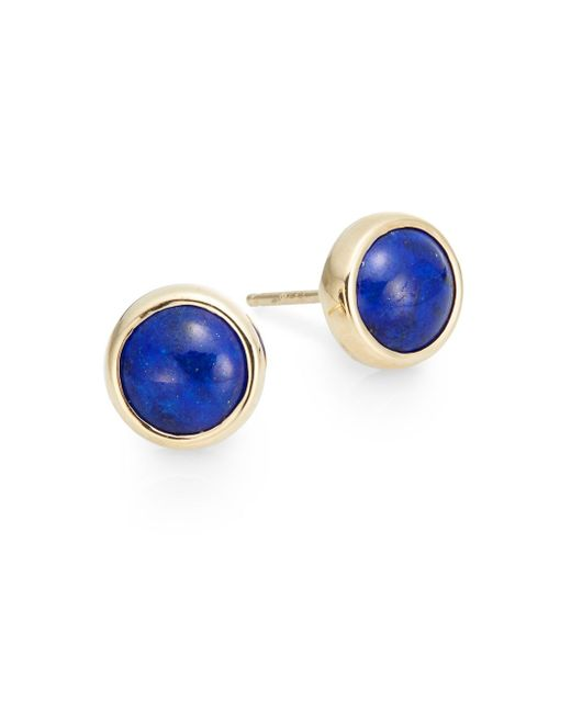 Anzie | Blue Classique Lapis & 14k Yellow Gold Stud Earrings | Lyst