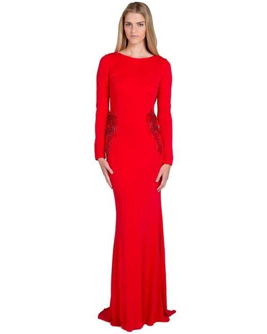 Badgley Mischka   Red Jersey Drape Back Evening Gown   Lyst