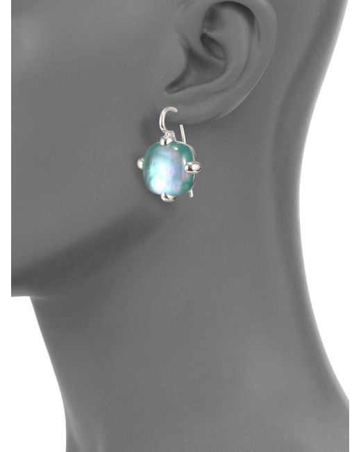 Pomellato   Green Agate Doublet & Sterling Silver Square Cabochon Drop Earrings   Lyst