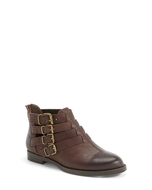 Bella Vita | Brown 'ronan' Buckle Leather Bootie | Lyst