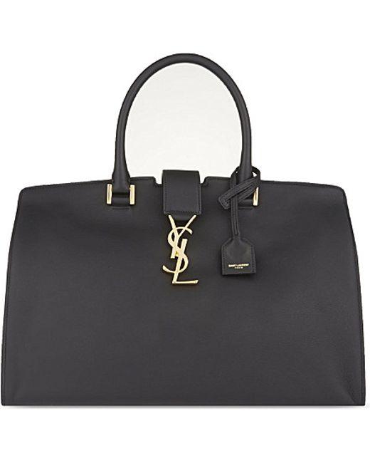 Saint Laurent | Black Cabas Medium Leather Tote | Lyst