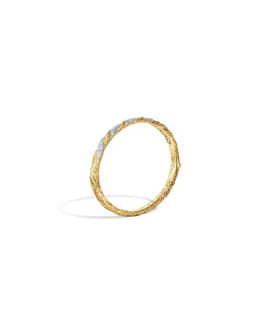 John Hardy | Metallic Classic Chain 18k Gold Diamond Pave Hinged Bangle | Lyst