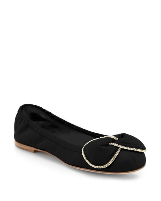 See By Chloé | Black Clara Chain-detail Leather Ballet Flats | Lyst
