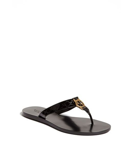 Gucci | Black Embossed-Leather Flip-Flops | Lyst
